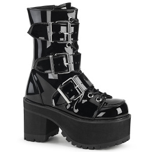 Girls Black Patent Platform Goth Boots with Heavy Duty Buckles