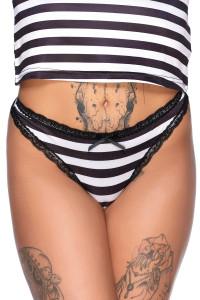 Never Trust The Living Black & White Striped Panty