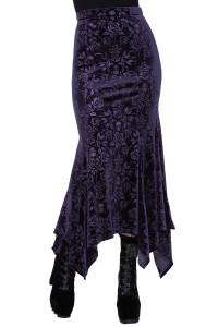 Roses Are Dead Purple Velvet Maxi Skirt