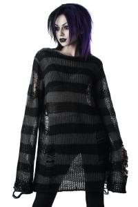 Ash Distress Knit Black Oversized Sweater