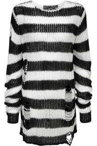 Pugsley Knit Black And White Distressed Oversized Sweater