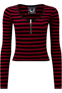 Izora Black & Red Stripped Top