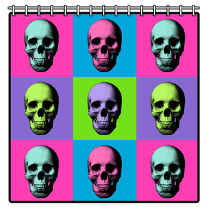 Warskol Skull Warhol Shower Curtain