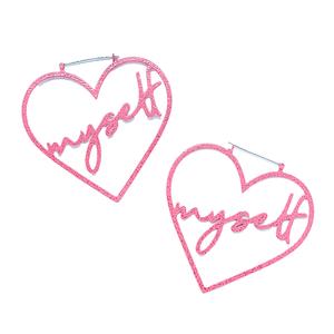 Hoop Earrings - I Heart Myself Pink Glitter