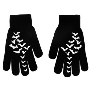 Winter Knit Fly Me Bats Black Gloves