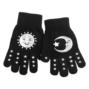 Celestial Sun Moon Winter Knit Black Gloves