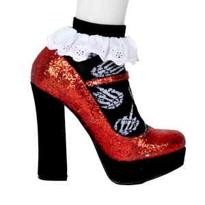 Up Yours Skeleton Hands Black Socks Ankle Lace Trim