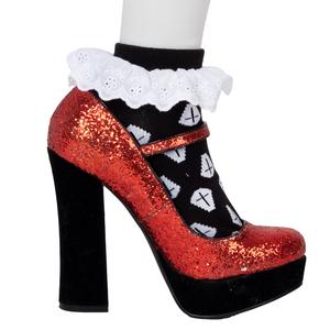 Coffin Black Socks Ankle Lace Trim
