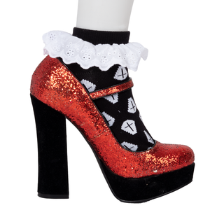 Black Coffin with Ankle Lace Trim Socks