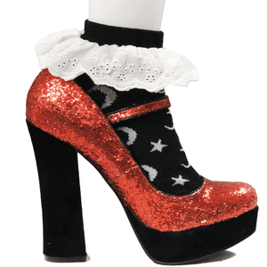 Moon And The Stars Black Socks Ankle Lace Trim