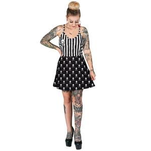 Skully Striped Black And White Dress Deep V Skater