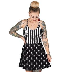 Skully Striped Black And White Skater Dress