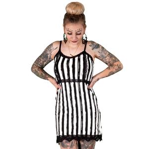 Distressed Black And White Stripe Lace Slip Dress