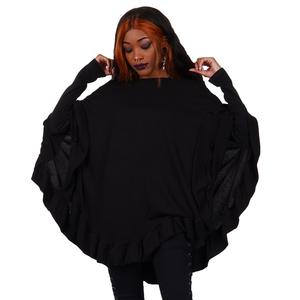 Poncho Ruffle Hem Black Sweater