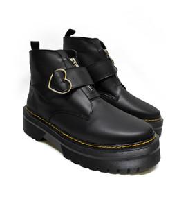 Black Vegan Platform Heart Buckle Combat Boots