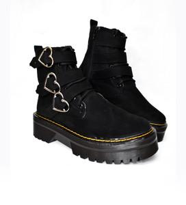 Black Vegan Platform 3 Heart Buckle Suede Boots