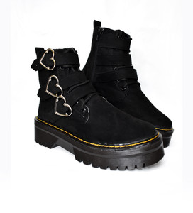Black Vegan Platform 3 Heart Buckle Suede Combat Boots