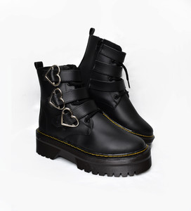 Black Vegan Platform 3 Heart Buckle Boots