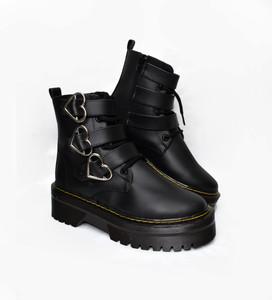 Black Vegan Platform 3 Heart Buckle Combat Boots