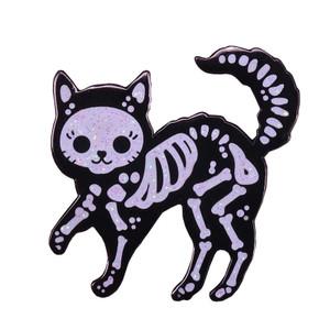 Cat Skelly Metal Pin