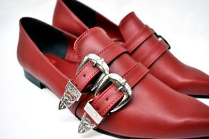 Antonella Red Pointed Winklepickers Witch Flat Shoes