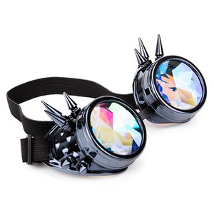 Kaleidoscope Rave Goggles with Spikes - Grey