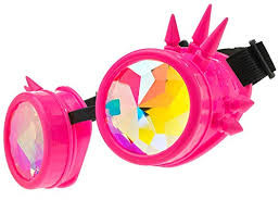 Kaleidoscope Rave Goggles with Spikes - Pink