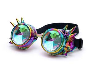 Metallic Rainbow Kaleidoscope with Spikes Goggles