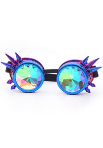 Kaleidoscope Rave Goggles with Spikes -Purple-Blue