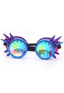 Metallic Purple Kaleidoscope with Spikes Goggles