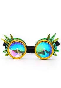 Metallic Yellow-Green Kaleidoscope with Spikes Goggles