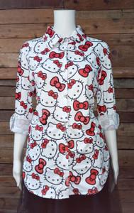 Hello Kitty - White Women's Button-Up Shirt
