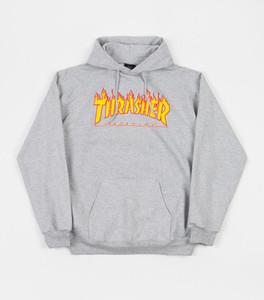 Thrasher Magazine - Flame Logo Grey Hoodie