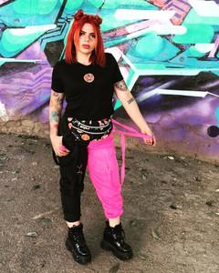 Bicolor Bomber Pants Black/Pink