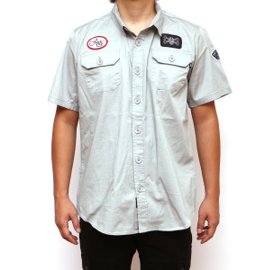 Motor Grey Short Sleeve Button-Up Shirt