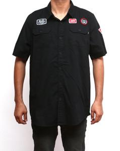Motor Black Short Sleeve Button-Up Shirt