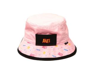 Antifashion Embroidered Logo Spiral Pink Bucket Hat