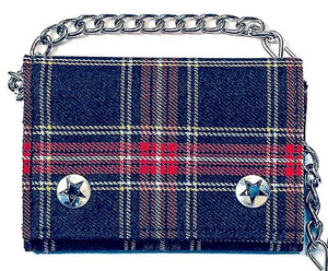 Blue Plaid Chained Wallet