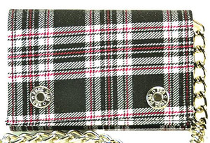 Black Plaid Chained Wallet