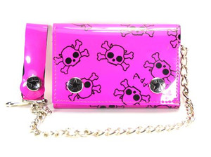 Skulls Prints All Over Chained Wallet