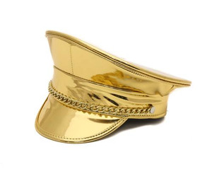 Gold Patent Chain Captain Hat