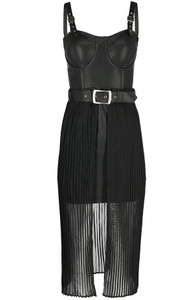 Black Gothic Night Mist Vegan Leather Dress With Overskirt
