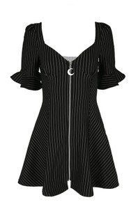 Pinstripe Sweetheart Dress With a Moon Charm
