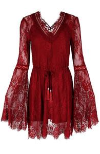 Gothic Eyelash Red Lace Dress Burgundy