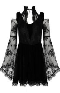 Layered Lace And Gothic Black Velvet Dress With A Crescent Charm