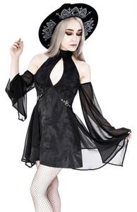Halterneck Black Acid Wash Tunic With Long Sleeves