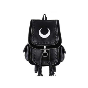 Black Leather Backpack With Crescent White Moon
