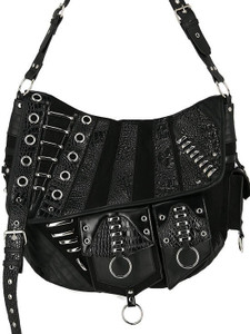 Patchwork Hobo Black Vegan Leather Bag