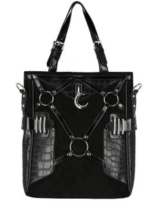 Black Vegan Leather  Bag With Harness And A Crescent Moon