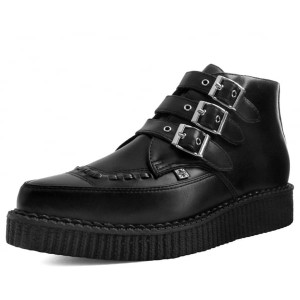 T.U.K. Black Vegan Leather Buckled Pointed Boots